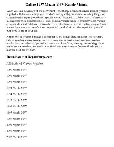 1997 Mazda Mpv Repair Manual Online By Calvin Mccray Issuu