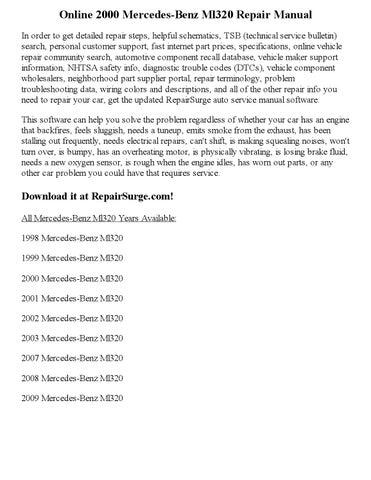 2000 mercedes benz ml320 repair manual online by nicole issuu rh issuu com 2000 ML320 Head Breakdown 2000 Mercedes ML320 Recalls