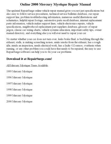 2000 mercury mystique repair manual online by nicole issuu