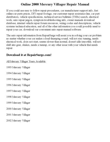 2000 Mercury Villager Repair Manual Online