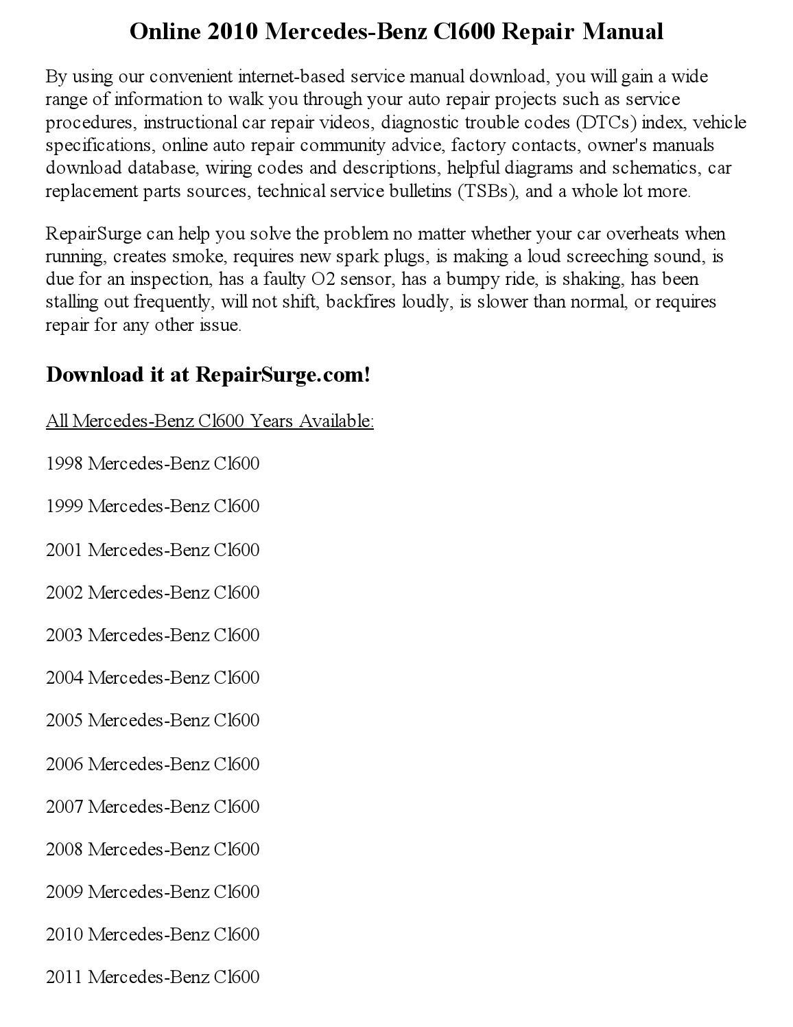 2010 Mercedes Benz Cl600 Repair Manual Online By Part George Issuu 2001 Fuse Diagram