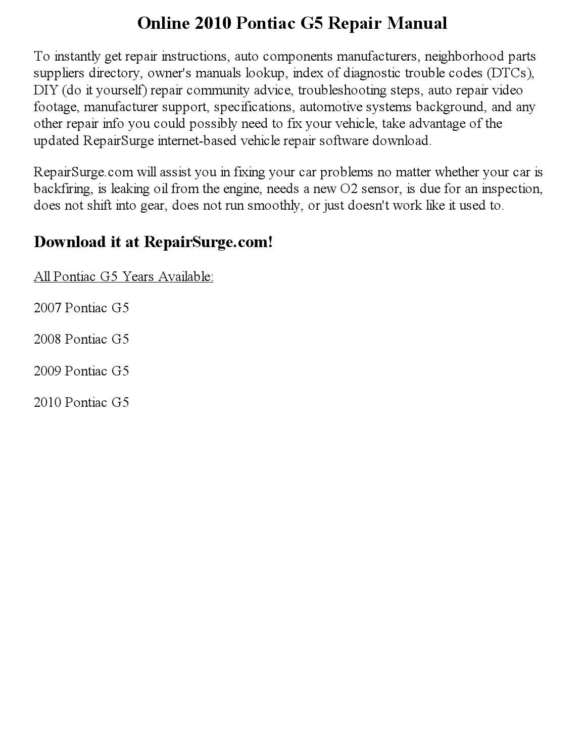 2010 pontiac g5 repair manual online by partgeorge issuu solutioingenieria Choice Image