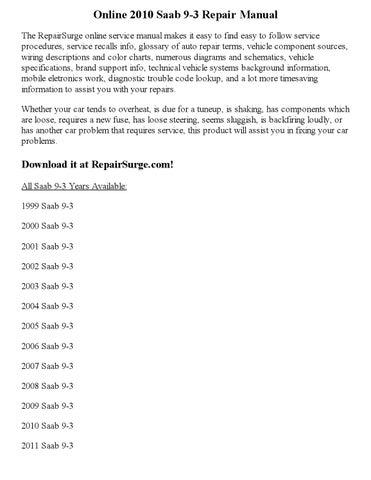 2010 saab 9 3 repair manual online by Part_George - issuu