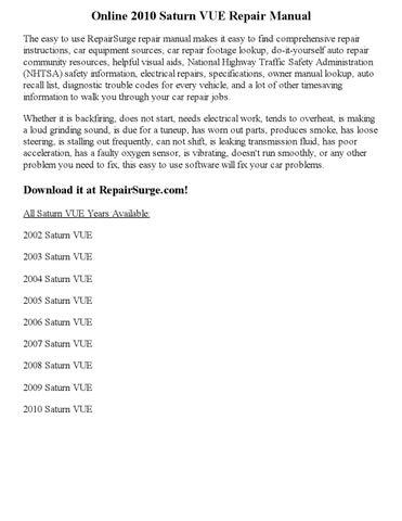 2010 saturn vue repair manual online by part george issuu rh issuu com 2007 saturn ion repair manual pdf 2007 saturn vue v6 owners manual