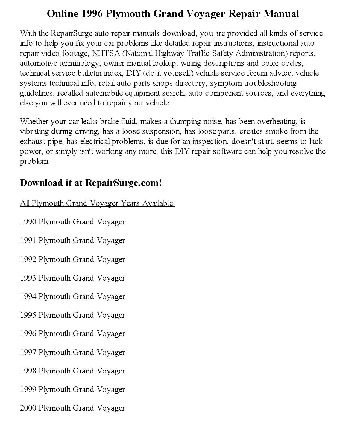 1996 Plymouth Grand Voyager Repair Manual Online by georgeblinkey - issuu