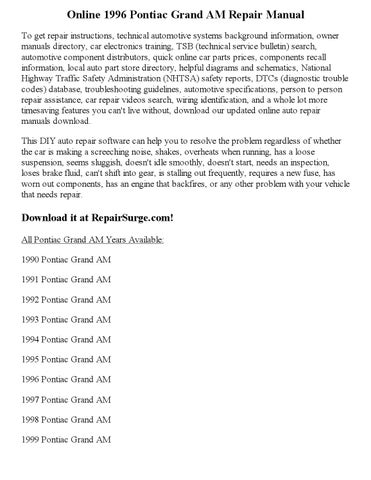 1996 pontiac grand am repair manual online by georgeblinkey issuu rh issuu com 1995 Pontiac Grand AM 2005 Pontiac Grand AM
