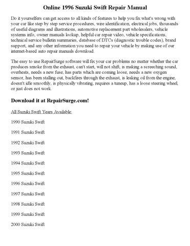 1996 Suzuki Swift Repair Manual Online by georgeblinkey - issuu