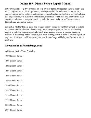 1994 nissan sentra repair manual online by clark andrew issuu rh issuu com 2003 Nissan Sentra Manual nissan sentra 1992 repair manual free download