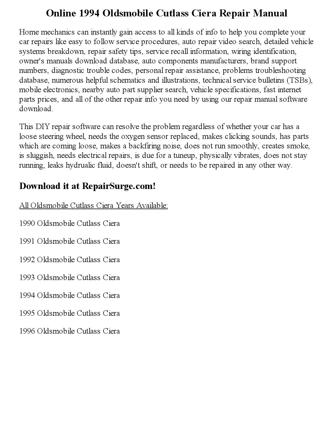1994 oldsmobile cutlass ciera repair manual online by Clark Andrew - issuu