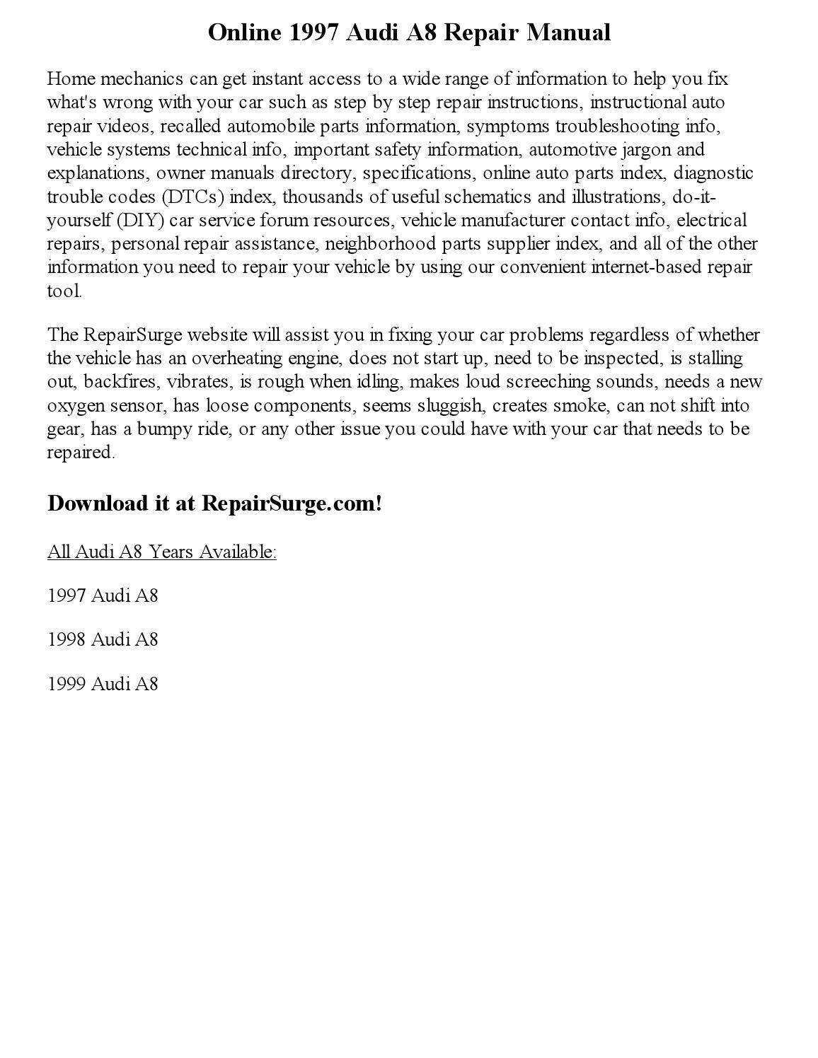 audi a8 owner u0027s manual 1999 Array - 1997 audi a8 repair manual online  by georgeblinkey issuu rh issuu ...