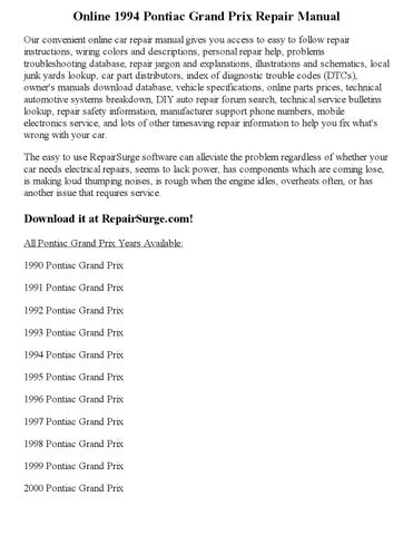 1994 pontiac grand prix repair manual online by clark andrew issuu rh issuu com 1998 Pontiac Grand Prix 1995 Pontiac Grand Prix