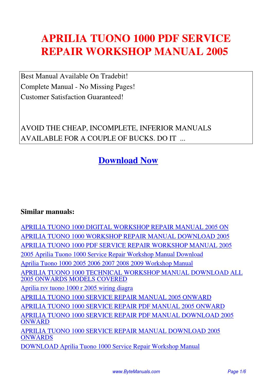 APRILIA TUONO 1000 SERVICE REPAIR WORKSHOP MANUAL 2005.pdf by Ging Tang -  issuu