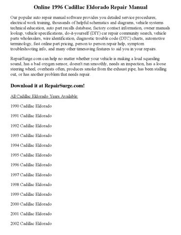 1996 cadillac eldorado repair manual online by robertmoutal issuu issuu