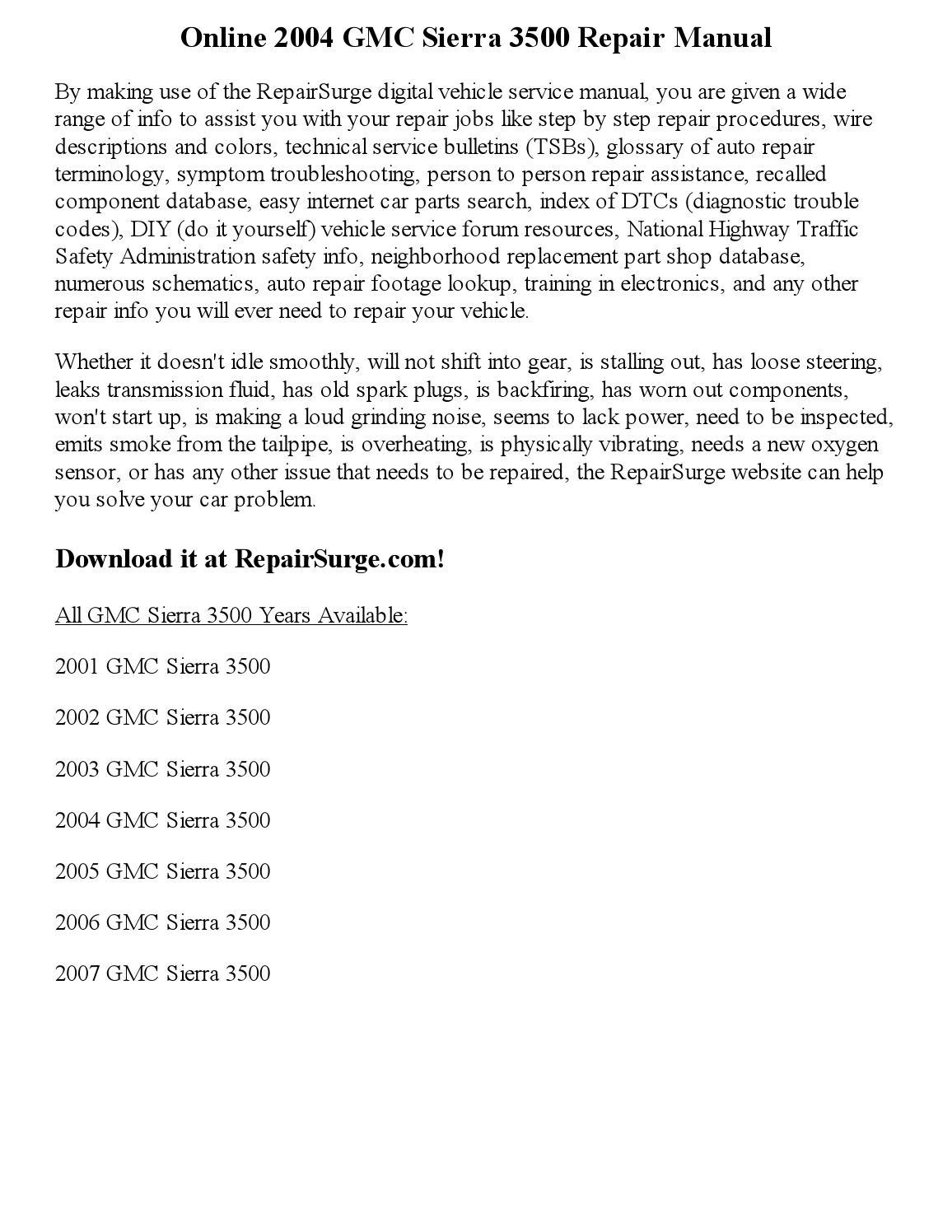 2004 Gmc Sierra 3500 Repair Manual Online By Kim Scotfield