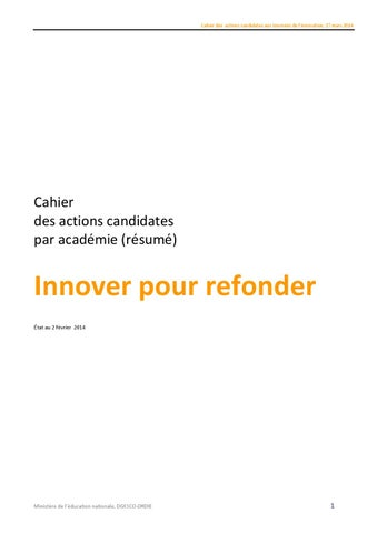 Cahier Des Actions Innovantes 2014 By Franois Muller