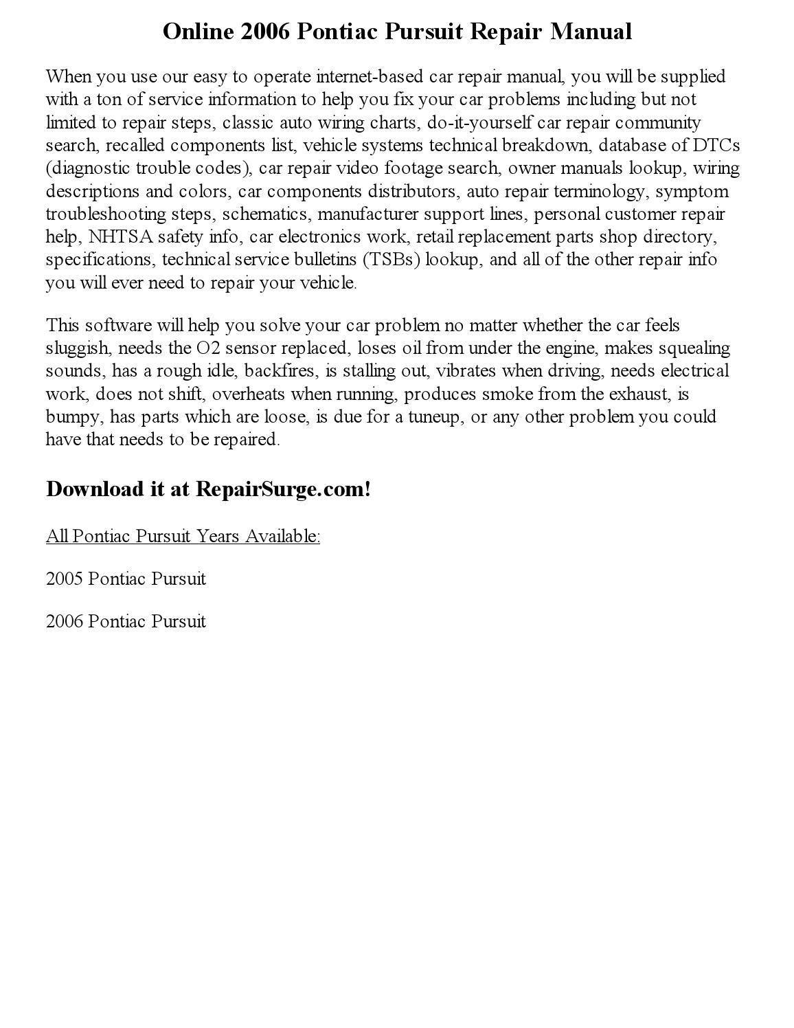 2006 pontiac pursuit repair manual online by. Black Bedroom Furniture Sets. Home Design Ideas