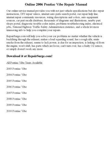 2006 pontiac vibe repair manual online