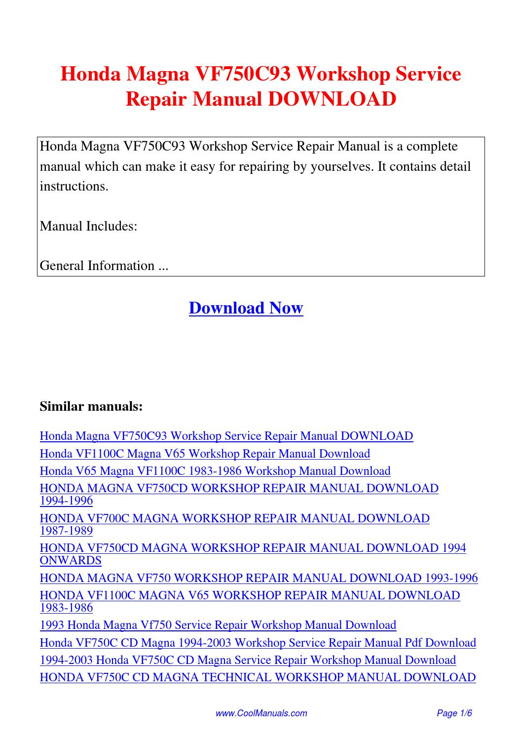 Honda Magna VF750C93 Workshop Service Repair Manual.pdf by Linda Pong -  issuu