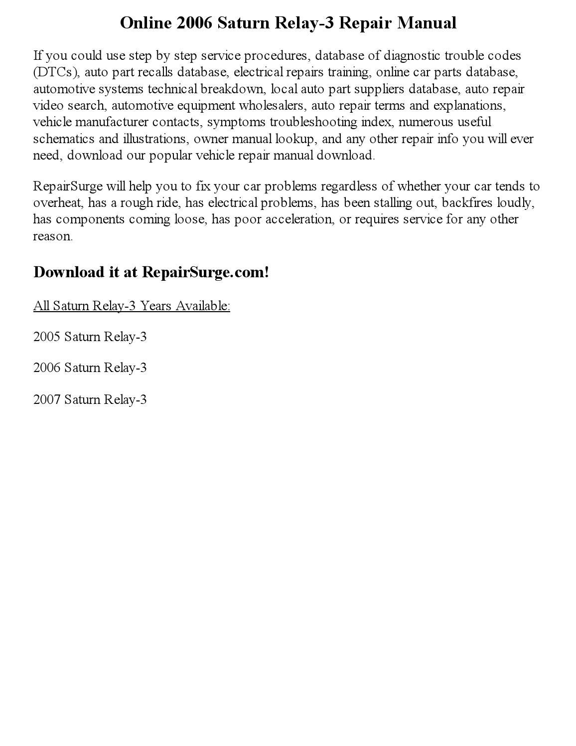 saturn relay repair manual