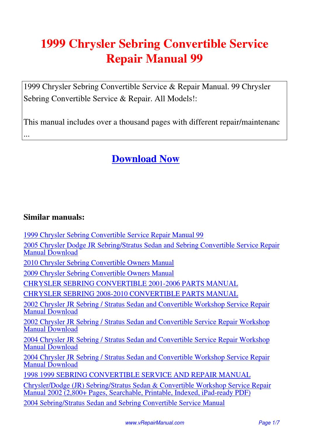 1999 Chrysler Sebring Convertible Service Repair Manual 99.pdf by David  Zhang - issuu