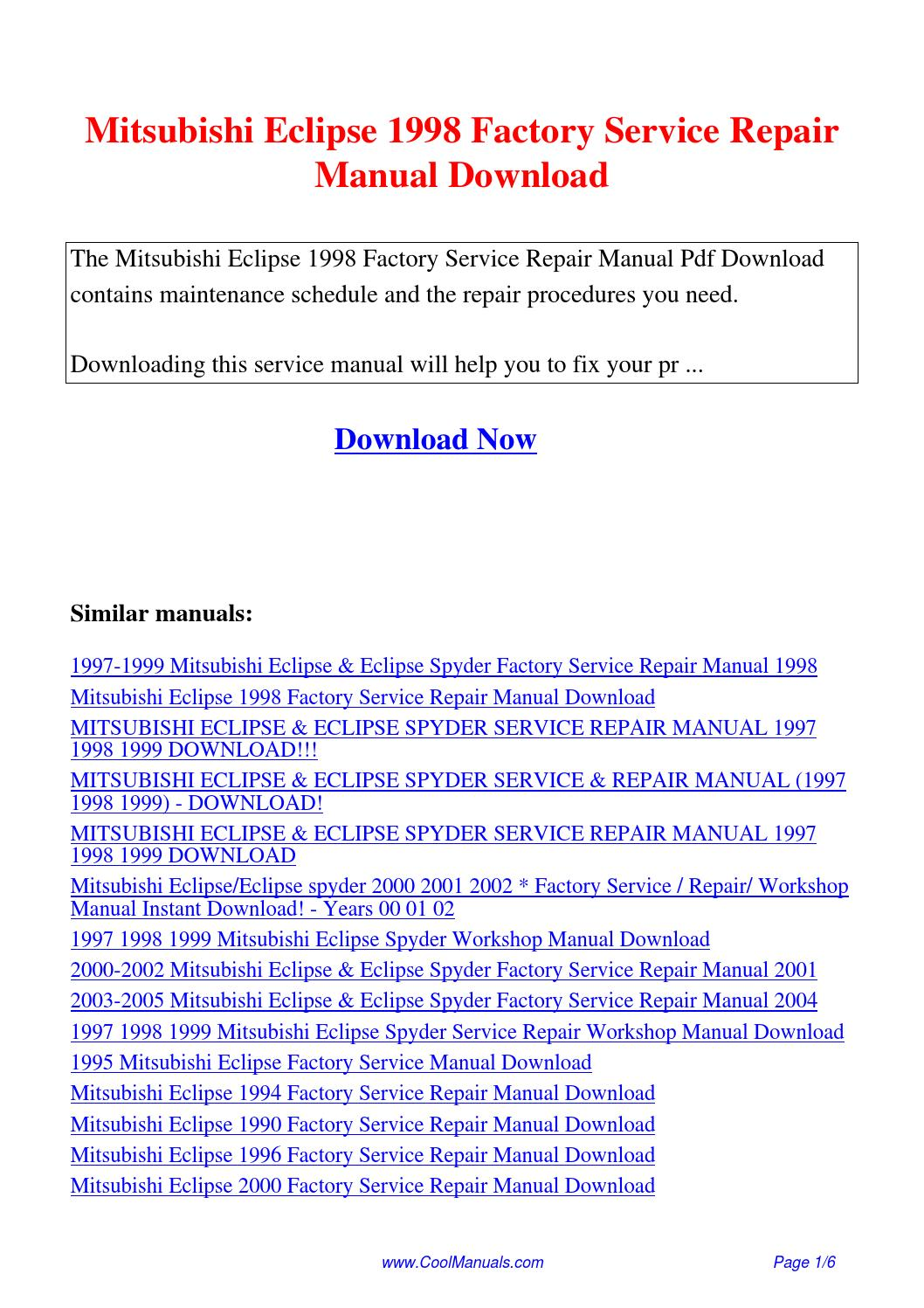 Mitsubishi Eclipse 1998 Factory Service Repair Manual.pdf by Linda Pong -  issuu