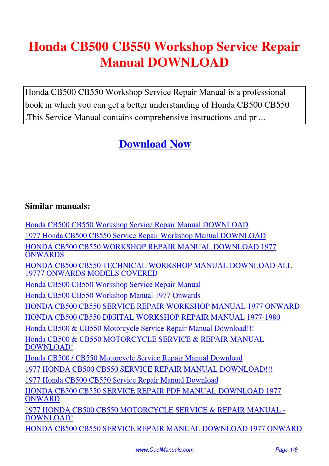Honda CB500 CB550 Workshop Service Repair Manual.pdf by Linda Pong - issuu