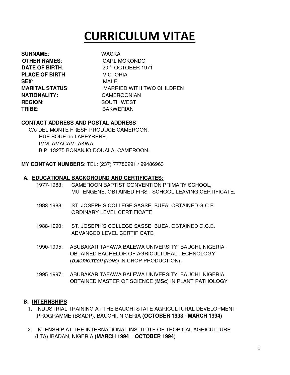 my curriculum vitae pdf revised by wacka carl