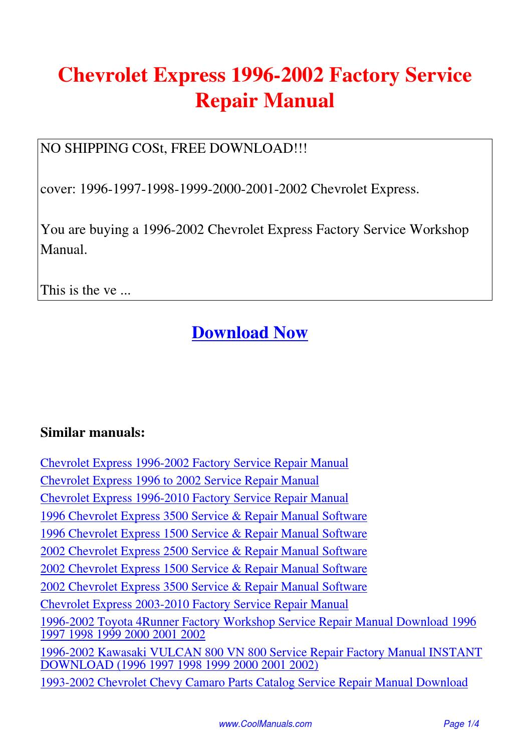 chevrolet express 1996 2002 factory service repair manual