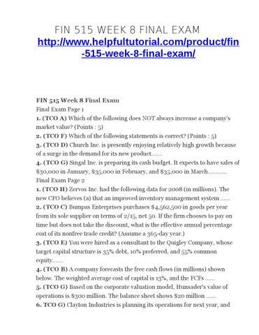 FIN 515 Week 4 Midterm new