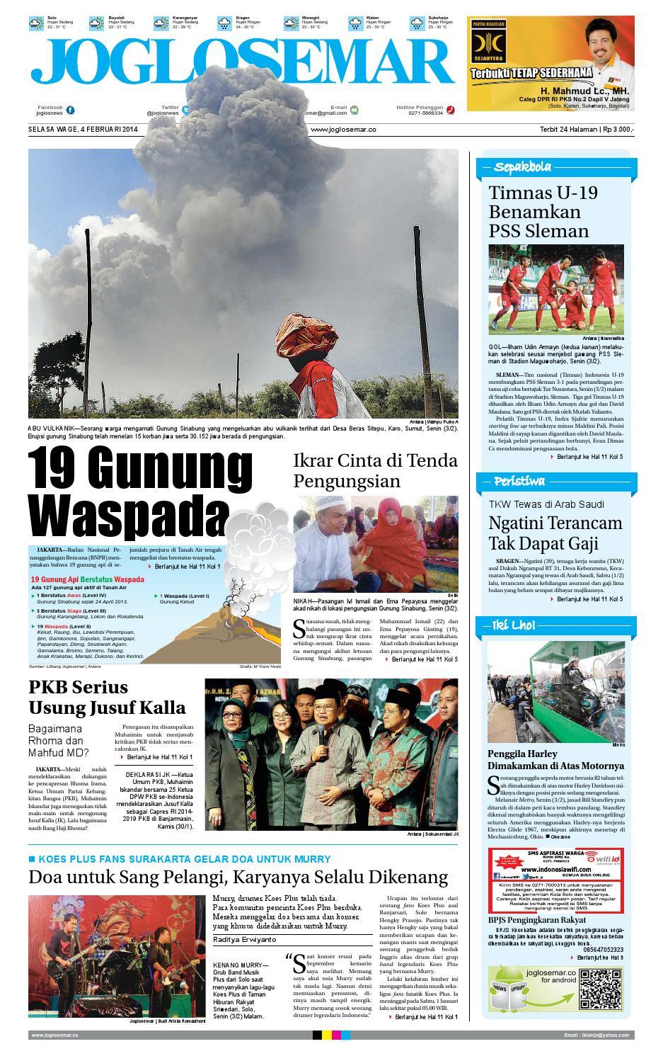 Epaper edisi 04 februari 2014 by PT Joglosemar Prima Media