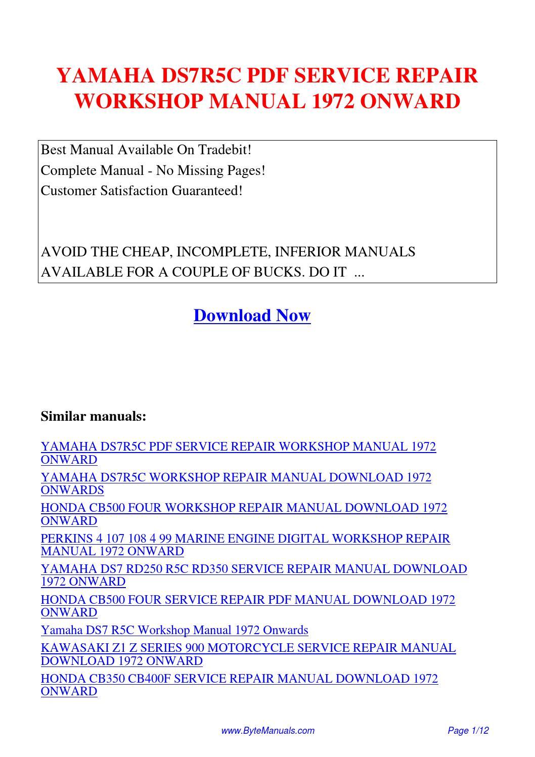 YAMAHA DS7R5C SERVICE REPAIR WORKSHOP MANUAL 1972 ONWARD.pdf by Ging Tang -  issuu