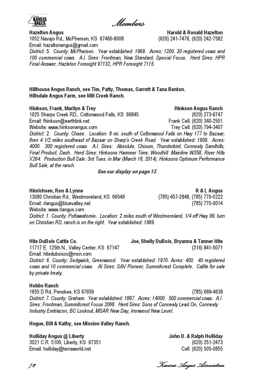 Kansas pottawatomie county westmoreland - Kansas Angus Association 2014 Membership Directory By Livestockdirect Issuu