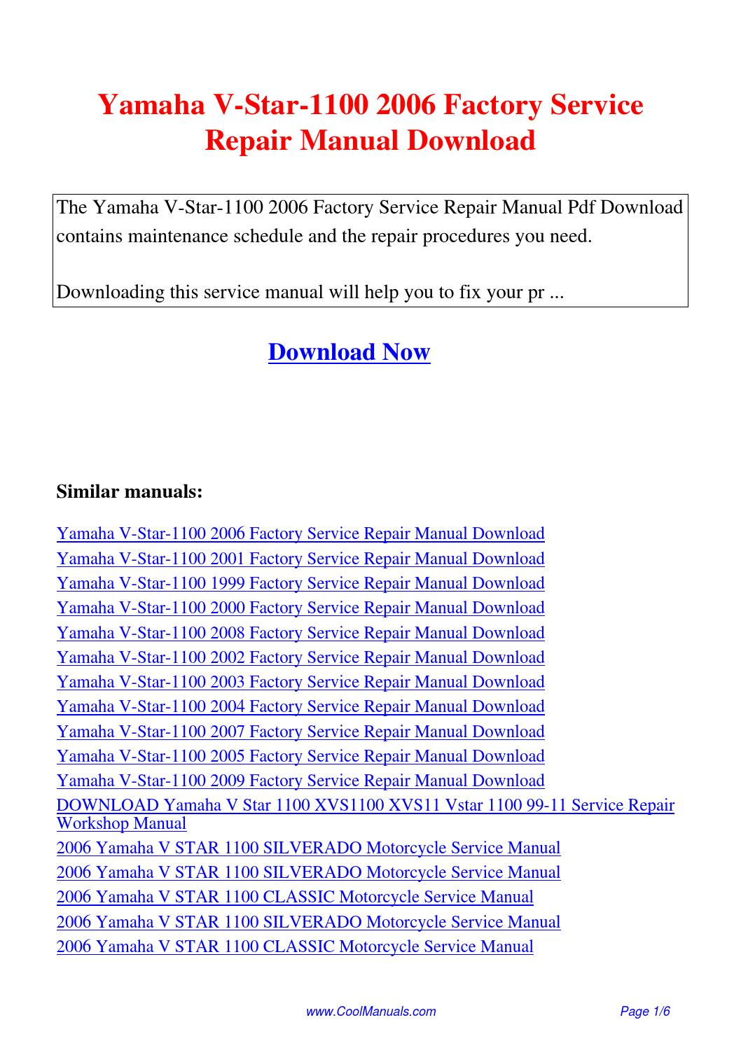 Yamaha V-Star-1100 2006 Factory Service Repair Manual.pdf by Linda Pong -  issuu