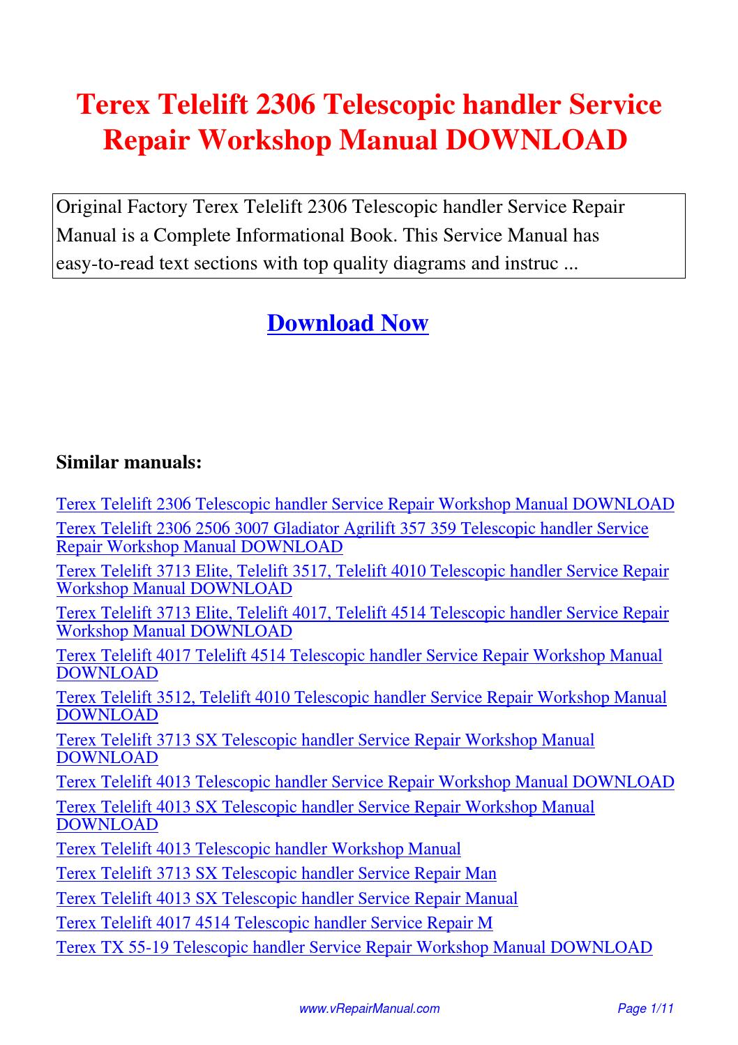 Terex Telelift 2306 Telescopic handler Service Repair Workshop Manual.pdf  by David Zhang - issuu