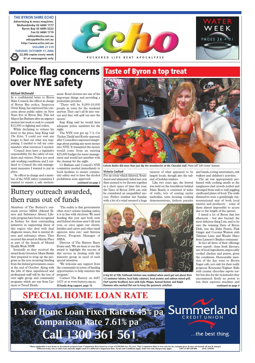 298ef6712695 Byron Shire Echo – Issue 21.19 – 17 10 2006 by Echo Publications - issuu
