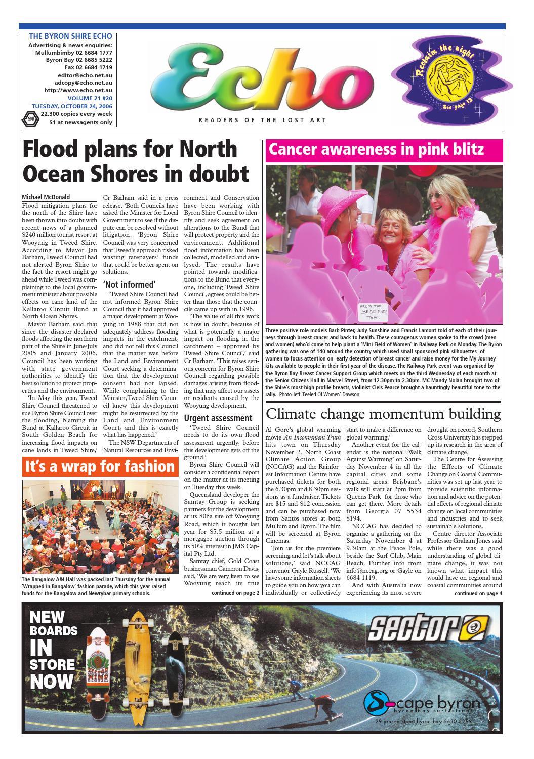 fb85f713bad Byron Shire Echo – Issue 21.20 – 24 10 2006 by Echo Publications - issuu