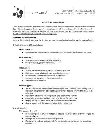 Ninedot Arts Art Director Job Description By Ninedotarts Denver