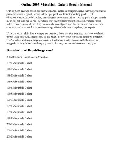 2005 mitsubishi galant repair manual online by ansley issuu rh issuu com 2000 Mitsubishi Galant 2003 Mitsubishi Galant