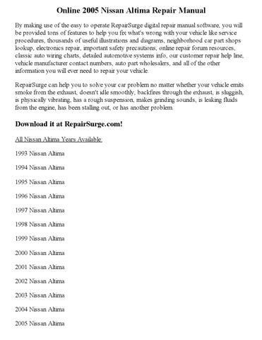 2005 nissan altima haynes manual