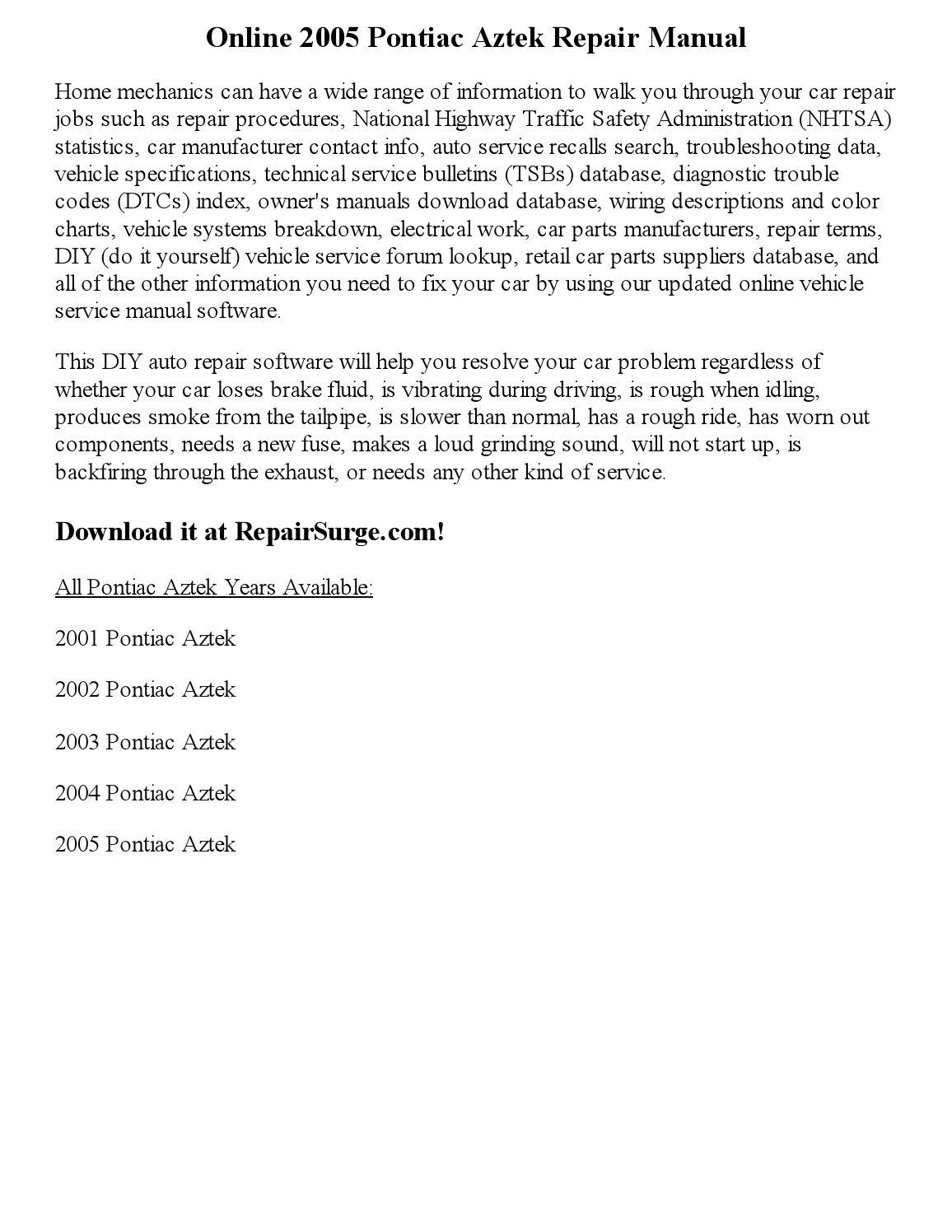 2005 pontiac aztek repair manual online by ansley issuu rh issuu com 2006 Pontiac Aztec 2003 Pontiac Aztek Inside