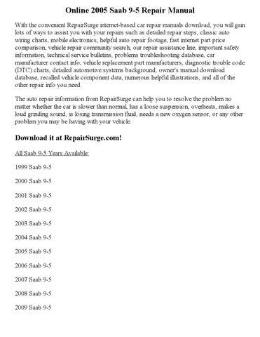 2005 saab 9 5 repair manual online by ansley issuu rh issuu com Saab 9 3 Maintenance Manual Saab 9-5 Turbo