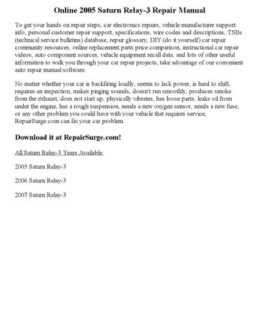 2005 saturn relay 3 repair manual online by ansley issuu rh issuu com Saturn Aura saturn relay repair manual free