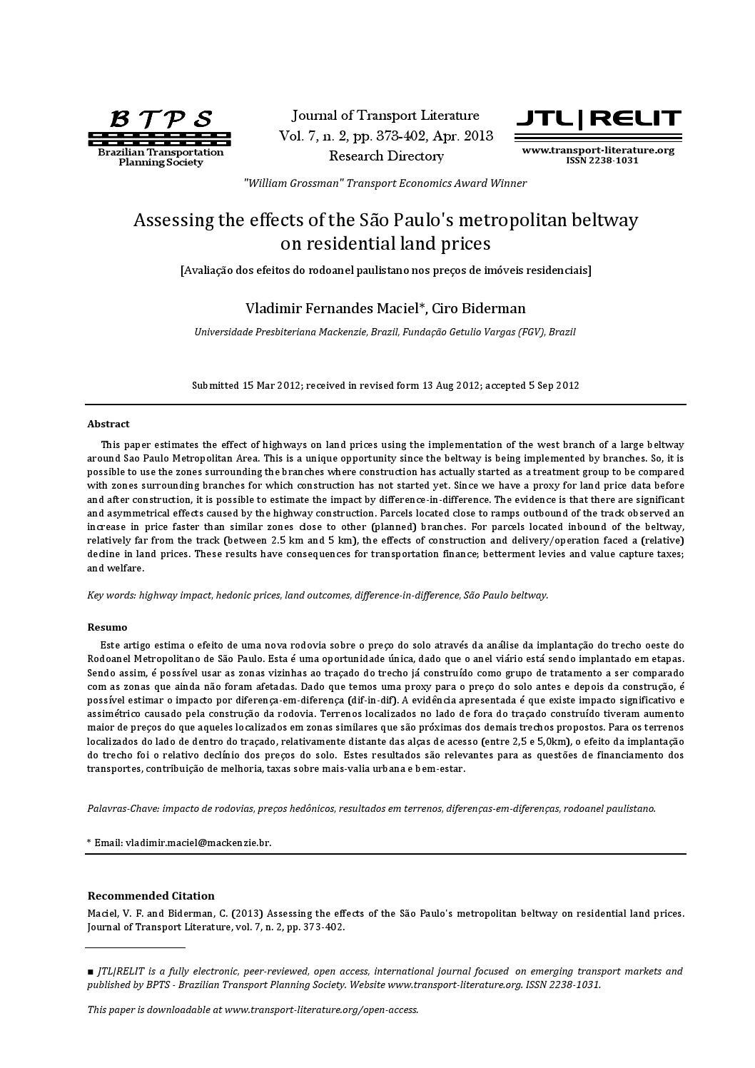 Jtl v07n02p19 by Journal of Transport Literature - issuu