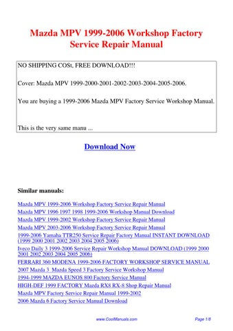 free pdf downloads for all engine sizes and models for mazda mpv 4 rh osoboekb ru mazda mpv service manual pdf mazda mpv owner's manual