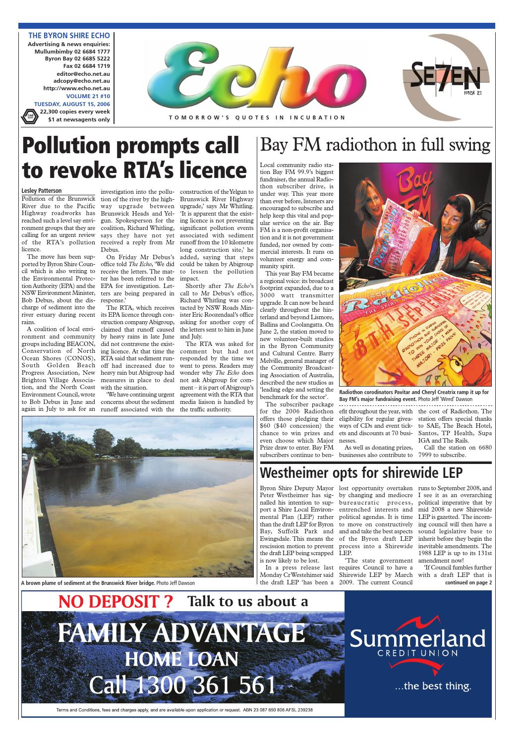 Byron Shire Echo – Issue 21 10 – 15/10/2006 by Echo Publications - issuu