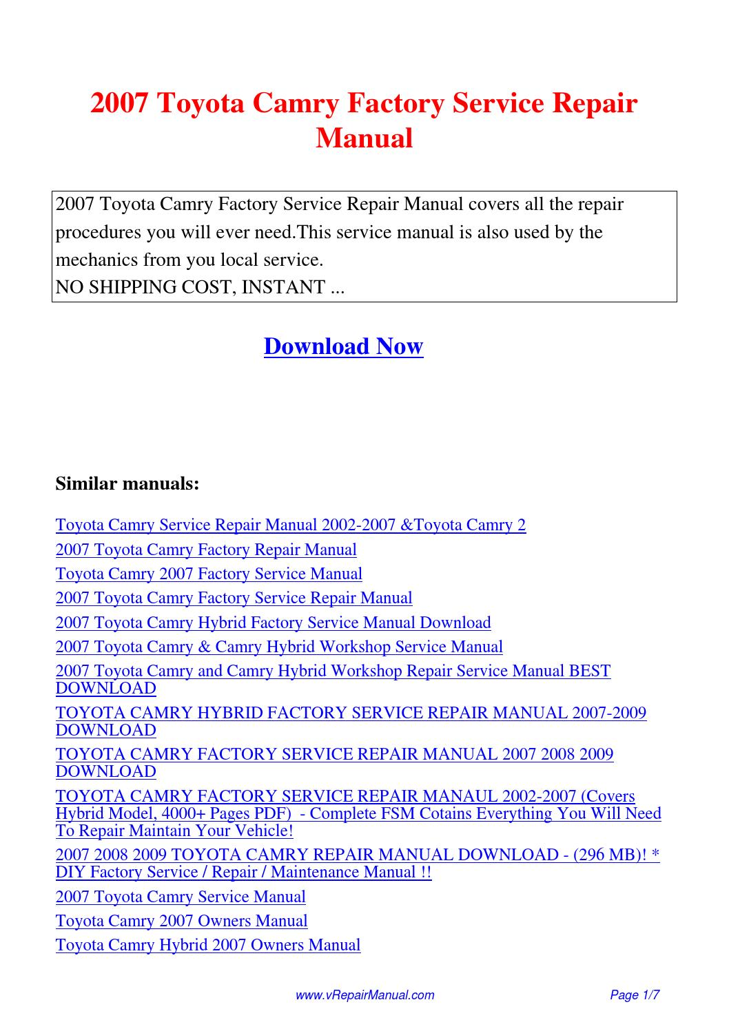 2007 toyota camry factory service repair manual pdf by ting wang issuu rh issuu com Service Repair Manuals Online Manufacturers Auto Repair Service Manuals