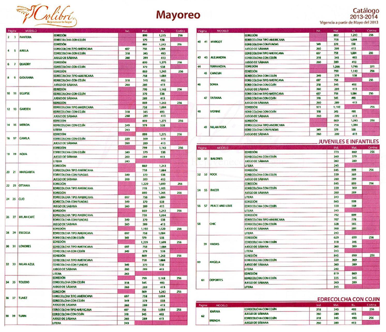 Catalogo colchas colibri 2014 lista precios impresos by for Catalogos sofas precios