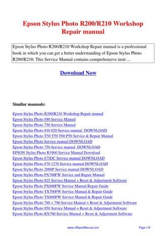 epson stylus photo r200 r210 workshop repair manual pdf by ting wang rh issuu com CIS Epson 1520 Epson Stylus