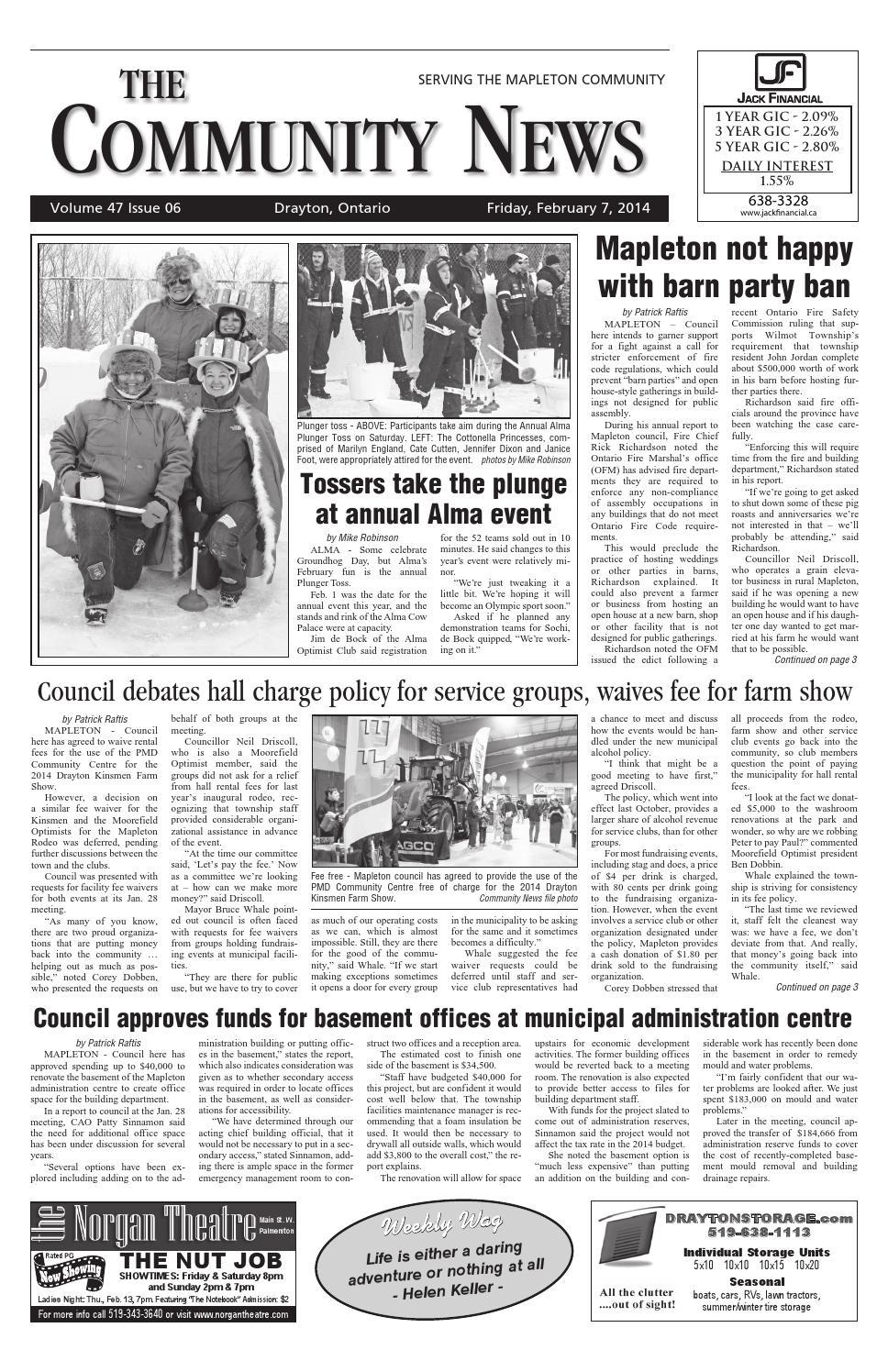 Drayton Community News February 7, 2014 by WHA Publications Ltd. - issuu