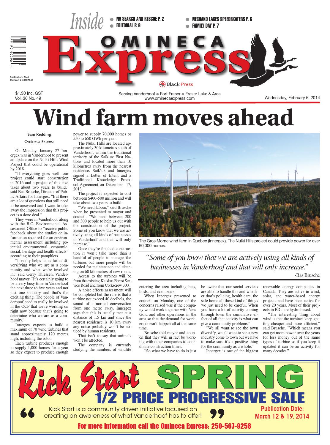 Vanderhoof Omineca Express, February 05, 2014 by Black Press Media